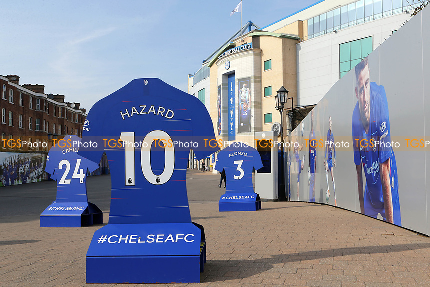 General view of the entrance to Chelsea FC showing the number 10 shirt of Eden Hazard on a display stand   during Chelsea Under-23 vs Arsenal Under-23, Premier League 2 Football at Stamford Bridge on 15th April 2019