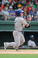 Second baseman Zach Osborne (2) of the Asheville Tourists bats in a game against the Greenville Drive on Sunday, July 20, 2014, at Fluor Field at the West End in Greenville, South Carolina. Asheville won game two of a doubleheader, 3-2. (Tom Priddy/Four Seam Images)