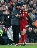 1st February 2020; Anfield, Liverpool, Merseyside, England; English Premier League Football, Liverpool versus Southampton; Liverpool manager Jurgen Klopp puts his arm around Jordan Henderson of Liverpool as he is substituted off late in the match
