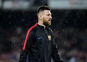 4th November 2017, Camp Nou, Barcelona, Spain; La Liga football, Barcelona versus Sevilla; Leo Messi under heavy rain