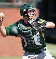 February 21, 2010:  Catcher Larry Balkwill (19) of the Siena Saints during a game at Melching Field at Conrad Park in DeLand, FL.  Siena lost to Stetson by the score of 8-7.  Photo By Mike Janes/Four Seam Images
