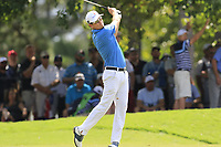Zach Johnson (USA) plays his 2nd shot on the 1st hole during Saturday's Round 3 of the 2017 PGA Championship held at Quail Hollow Golf Club, Charlotte, North Carolina, USA. 12th August 2017.<br /> Picture: Eoin Clarke | Golffile<br /> <br /> <br /> All photos usage must carry mandatory copyright credit (&copy; Golffile | Eoin Clarke)