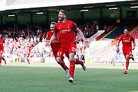 O's Matt Harrold celebrates after doing on his debut during Leyton Orient vs Guiseley, Vanarama National League Football at the Matchroom Stadium on 2nd September 2017