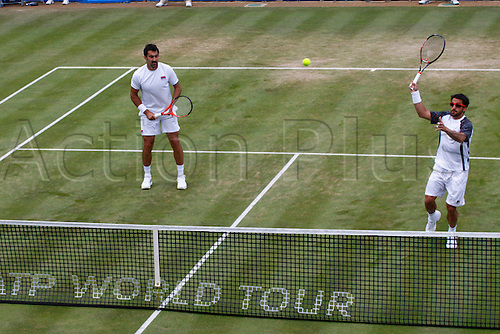 16.06.12 Queens Club, London, ENGLAND: ..TIPSAREVIC, Janko (SRB)/ZIMONJIC, Nenad (SRB)..mens doubles quater-final round match during TIPSAREVIC, Janko (SRB)/ZIMONJIC, Nenad (SRB) versus MALISSE, Xavier (BEL)/NORMAN, Dick (BEL)on day Six of the Aegon Championships at Queens Club ..on June 16, 2012 in London , England.........