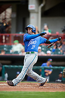 Hartford Yard Goats left fielder Stephen Cardullo (39) follows through on a swing during a game against the Erie SeaWolves on August 6, 2017 at UPMC Park in Erie, Pennsylvania.  Erie defeated Hartford 9-5.  (Mike Janes/Four Seam Images)