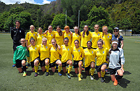 The Capital team poses for a group photo after the New Zealand Age Group Championships Under-16 Girls match between Capital (yellow tops) and Auckland at Maidstone Park in Upper Hutt, Wellington, New Zealand on Thursday, 14 December 2017. Photo: Dave Lintott / lintottphoto.co.nz