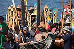 Canoe Journey, Paddle to Nisqually, 2016, Northwest tribal canoes Heiltsuk Nation, Qatuwas, arriving in Olympia, Washington, 7-30-2016, Salish Sea, Puget Sound, Washington State, USA,