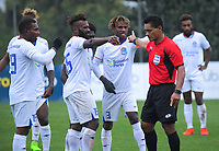 Henderson players dispute Team Wellington's second goal, after the offside flag was raised in the buildup to the goal by Angus Kilkolly, during the 2019 OFC Champions League quarter final football match between Team Wellington and Henderson Eels at David Farrington Park in Wellington on Sunday, 7 April 2019. Photo: Dave Lintott / lintottphoto.co.nz