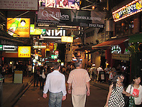 Lan Kwai Fong, the popular nightime destination of ex-pats and toursits