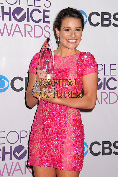 Lea Michele.People's Choice Awards 2013 - Press Room held at Nokia Theatre L.A. Live, Los Angeles, California, USA..January 9th, 2013.half length pink dress lace sequins sequined award trophy winner  .CAP/ADM/BP.©Byron Purvis/AdMedia/Capital Pictures.