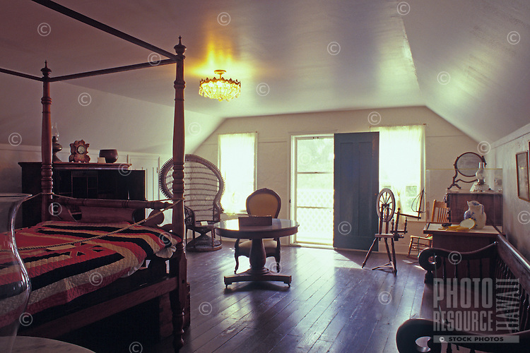 A view of the interior of the Bailey House Museum, which is a converted historical mission house.  The museum features Hawaiiana and art and craft demonstrations.