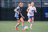 Allston, MA - Saturday, May 07, 2016: Chicago Red Stars midfielder Alyssa Mautz (4) and Boston Breakers midfielder Kristie Mewis (19) during a regular season National Women's Soccer League (NWSL) match at Jordan Field.
