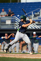 Vermont Lake Monsters catcher Nick Collins (20) at bat during the first game of a doubleheader against the Batavia Muckdogs August 11, 2015 at Dwyer Stadium in Batavia, New York.  Batavia defeated Vermont 6-0.  (Mike Janes/Four Seam Images)