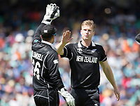 James Neesham (New Zealand) celebrates the wicket of Bhuvneshwar Kumar (India) during India vs New Zealand, ICC World Cup Warm-Up Match Cricket at the Kia Oval on 25th May 2019