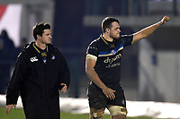 Zach Mercer of Bath Rugby waves to the travelling support after the match. European Rugby Champions Cup match, between Benetton Rugby and Bath Rugby on January 20, 2018 at the Municipal Stadium of Monigo in Treviso, Italy. Photo by: Patrick Khachfe / Onside Images