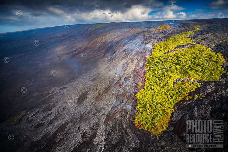 View from a helicopter of the Kilauea lava flow that started on June 27, 2014, in Pahoa, Big Island of Hawai'i. This image was taken in July 2016.