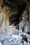 Rock fall inside sea cave ay Ajuy, Fuerteventura, Canary Islands, Spain