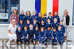 Class teacher Sheila Goulding, Noranne Downey support teacher and Aileen Buckley SNA with their junior infants on their first day of school in St Olivers NS Killlarney on Monday