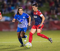 Boyds, MD - April 16, 2016: Washington Spirit defender Ali Krieger (11) and Boston Breakers forward Stephanie McCaffrey (9). The Washington Spirit defeated the Boston Breakers 1-0 during their National Women's Soccer League (NWSL) match at the Maryland SoccerPlex.