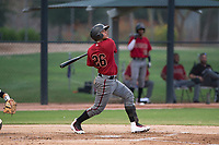 AZL Diamondbacks catcher Douglas Lanza (26) follows through on his swing during an Arizona League game against the AZL White Sox at Camelback Ranch on July 12, 2018 in Glendale, Arizona. The AZL Diamondbacks defeated the AZL White Sox 5-1. (Zachary Lucy/Four Seam Images)