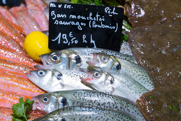 Raw Dorade Gris - wild sea bass or sea bream - on display for sale in food market at St Martin de Re, Ile de Re, France