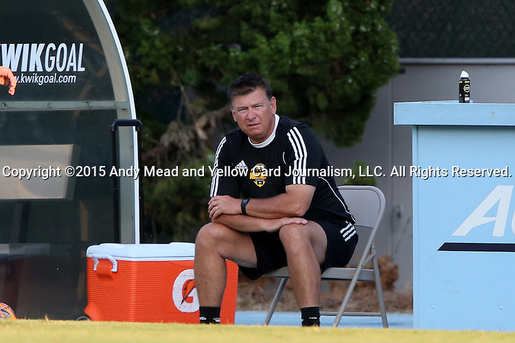 14 August 2015: Winthrop head coach Rich Posipanko. The University of North Carolina Tar Heels hosted the Winthrop University Eagles at Fetzer Field in Chapel Hill, NC in a 2015 NCAA Division I Men's Soccer preseason exhibition. North Carolina won the game 4-1.