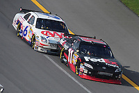 Apr 27, 2008; Talladega, AL, USA; NASCAR Sprint Cup Series driver Denny Hamlin (11) leads David Ragan (6) during the Aarons 499 at Talladega Superspeedway. Mandatory Credit: Mark J. Rebilas-