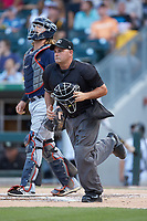 Home plate umpire Jeremy Riggs during the International League game between the Toledo Mud Hens and the Charlotte Knights at BB&T BallPark on June 22, 2018 in Charlotte, North Carolina. The Mud Hens defeated the Knights 4-0.  (Brian Westerholt/Four Seam Images)