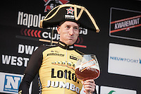 Jos Van Emden enjoying his beer like a Napoleon after finishing 1st place in the 1st Dwars door West-Vlaanderen 2017 (1.1)
