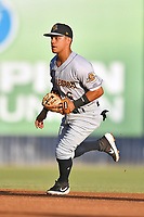 Charleston RiverDogs second baseman Eduardo Torrealba (6) reacts to the ball during a game against the Asheville Tourists at McCormick Field on August 15, 2019 in Asheville, North Carolina. The Tourists defeated the RiverDogs 6-3. (Tony Farlow/Four Seam Images)