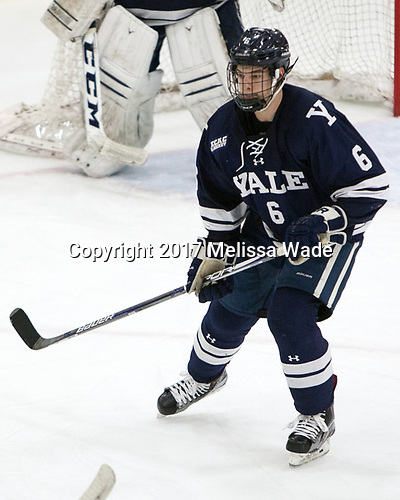 Billy Sweezey (Yale - 6) - The Harvard University Crimson defeated the Yale University Bulldogs 6-4 in the opening game of their ECAC quarterfinal series on Friday, March 10, 2017, at Bright-Landry Hockey Center in Boston, Massachusetts.