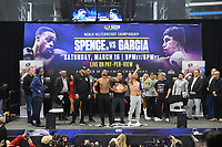 DALLAS, TX - MARCH 15: Errol Spence Jr. and Mikey Garcia attend the weigh-in for the Fox Sports PBC Pay-Per_View World Welterweight Championship fight at AT&T Stadium on March 15, 2019 in Dallas, Texas. The fight is on March 16 at 9PM ET/6PM PT. (Photo by Frank Micelotta/Fox Sports/PictureGroup)