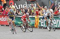 Alberto Contador, Joaquin Purito Rodriguez and Alejandro Valverde during the stage of La Vuelta 2012 between Lleida-Lerida and Collado de la Gallina (Andorra).August 25,2012. (ALTERPHOTOS/Acero) /NortePhoto.com<br /> <br /> **CREDITO*OBLIGATORIO** <br /> *No*Venta*A*Terceros*<br /> *No*Sale*So*third*<br /> *** No*Se*Permite*Hacer*Archivo**<br /> *No*Sale*So*third*
