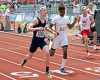 St. Louis University High's Alex Groesch (1090) crosses the finish line to take second, while Hazelwood Centra's Brandon Chunn takes third as Ozark senior Daniel Anderson (997) runs to a 5th place finish in the Class 4 Boys 400 meter dash in 49.75.
