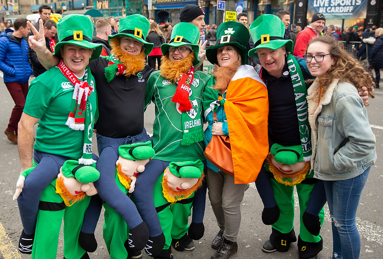 Fans enjoying the pre match atmosphere<br /> <br /> Photographer Bob Bradford/CameraSport<br /> <br /> Guinness Six Nations Championship - Wales v Ireland - Saturday 16th March 2019 - Principality Stadium - Cardiff<br /> <br /> World Copyright © 2019 CameraSport. All rights reserved. 43 Linden Ave. Countesthorpe. Leicester. England. LE8 5PG - Tel: +44 (0) 116 277 4147 - admin@camerasport.com - www.camerasport.com