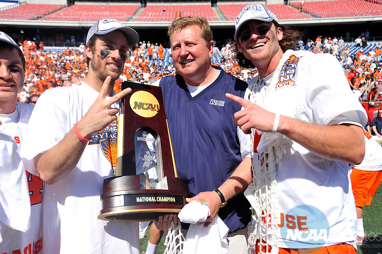 25 MAY 2009: Members of the Syracuse University Men's Lacrosse team and head coach John Desko pose with the National Championship trophy after defeating Cornell University in the Division I Men's Lacrosse Championship held at Gillette Stadium in Foxborough, MA.  Syracuse defeated Cornell 10-9 in overtime for the national title.  Larry French/NCAA Photos
