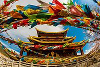 Prayer flags, Guishan Gongyuan Temple, Shangri La (Zhongdian), Yunnan Province, China.
