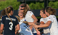 Allston, Massachusetts - July 17, 2016:  In a National Women's Soccer League (NWSL) match, Sky Blue FC (blue) defeated Boston Breakers (white/blue), 3-2, at Jordan Field.<br /> <br /> Goal celebration.