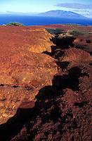 Erosion on the uninhabited island of Kahoolawe. Island of Maui in the distance.