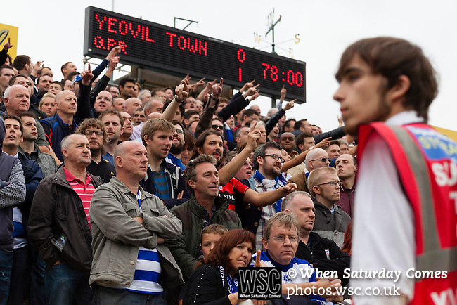 Yeovil Town 0 Queens Park Rangers 1, 21/09/2013. Huish Park, Championship. QPR fans celebrate Charlie Austins goal. Photo by Paul Thompson.