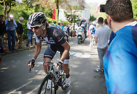 Fabio Felline (ITA/Trek Factory Racing) spitting it out up the infamous Mur de Huy (max 17%)<br /> <br /> La Flèche Wallonne 2014