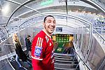 Stockholm 2014-05-04 Fotboll Superettan Hammarby IF - IFK V&auml;rnamo :  <br /> V&auml;rnamos Juan Robledo &auml;r glad p&aring; v&auml;g ut i spelarg&aring;ngen efter matchen<br /> (Foto: Kenta J&ouml;nsson) Nyckelord:  Superettan Tele2 Arena Hammarby HIF Bajen V&auml;rnamo jubel gl&auml;dje lycka glad happy