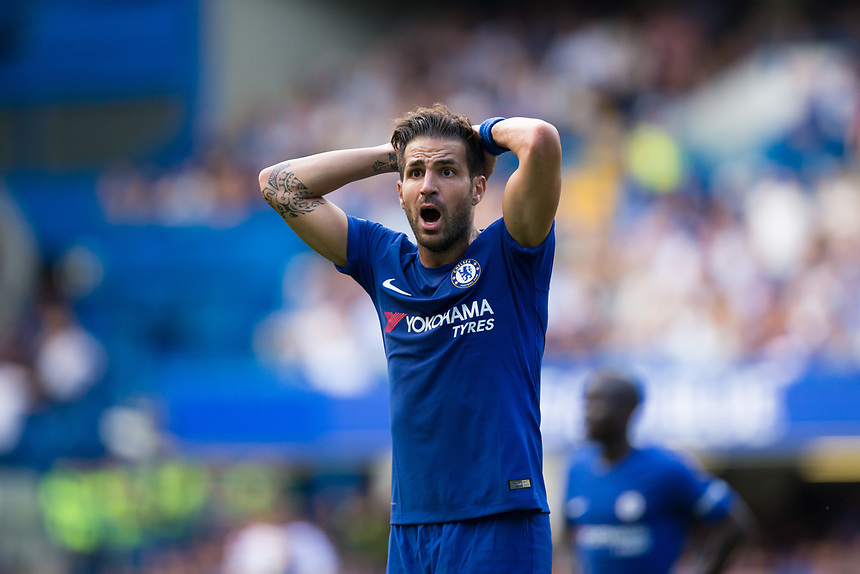 Chelsea's Cesc Fabregas reacts to being shown a red card<br /> <br /> Photographer Craig Mercer/CameraSport<br /> <br /> The Premier League - Chelsea v Burnley - Saturday August 12th 2017 - Stamford Bridge - London<br /> <br /> World Copyright &copy; 2017 CameraSport. All rights reserved. 43 Linden Ave. Countesthorpe. Leicester. England. LE8 5PG - Tel: +44 (0) 116 277 4147 - admin@camerasport.com - www.camerasport.com