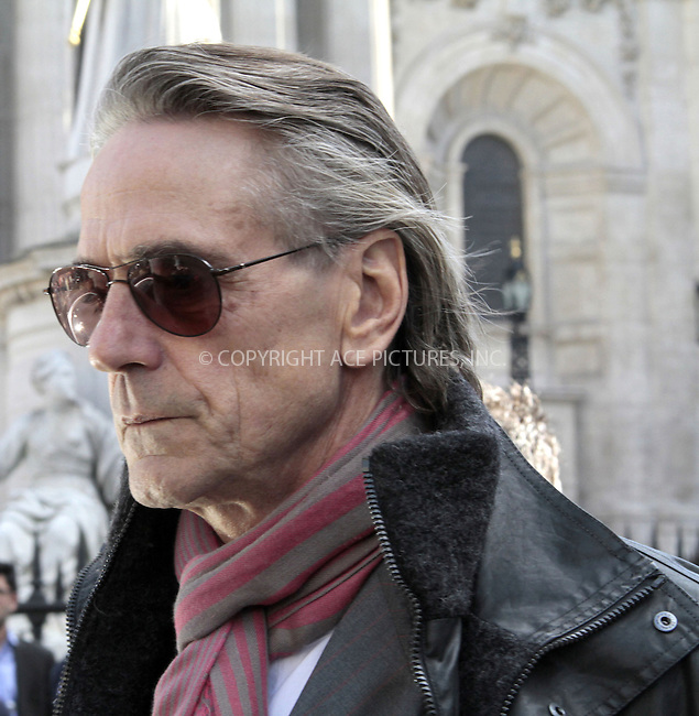 WWW.ACEPIXS.COM....US Sales Only....Jeremy Irons at the memorial service for Vidal Sassoon at St Pauls Cathedral on October 12 2012  in London ....By Line: Famous/ACE Pictures......ACE Pictures, Inc...tel: 646 769 0430..Email: info@acepixs.com..www.acepixs.com