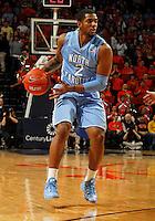 North Carolina guard Leslie McDonald (2) handles the ball during the game against Virginia at the John Paul Jones arena in Charlottesville, Va. Virginia defeated North Carolina 61-52.