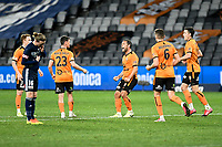 29th July 2020; Bankwest Stadium, Parramatta, New South Wales, Australia; A League Football, Melbourne Victory versus Brisbane Roar; Scott McDonald of Brisbane Roar celebrates with teammates after scoring to make for 0-1 in the 56th minute