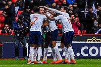 England celebrate going 1-0 up during the International Euro U21 Qualification match between England U21 and Ukraine U21 at Bramall Lane, Sheffield, England on 27 March 2018. Photo by Stephen Buckley / PRiME Media Images.