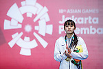 Sera Azuma (JPN), <br /> AUGUST 20, 2018 - Fencing : <br /> Women's Individual Foil Medal Ceremony <br /> at Jakarta Convention Center Cendrawasih <br /> during the 2018 Jakarta Palembang Asian Games <br /> in Jakarta, Indonesia. <br /> (Photo by Naoki Morita/AFLO SPORT)