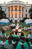 United States President Barack Obama and first lady Michelle Obama host a group of Girl Scouts from across the country for a campout on the South Lawn of the White House June 30, 2015 in Washington, DC.  The first family hosted the event as part of the first lady's Let's Move! Outside initiative and for Girl Scouts to earn the new Girls' Choice Outdoor badge. <br /> Credit: Chip Somodevilla / Pool via CNP