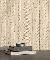 Cardigan, a waterjet and hand-cut stone mosaic, shown in tumbled Bianco Antico, is part of the Tissé™ collection for New Ravenna.